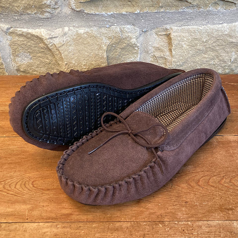 Mens Suede Moccasin Slipper with Fabric Lining - Style 14
