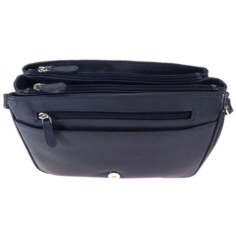 Rowallan Navy Leather Flap Front Organiser Bag - Style: 31-8906