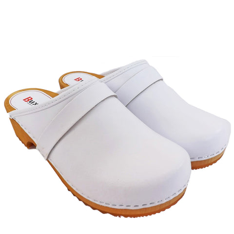 Buxa Traditional Wooden Clog - White