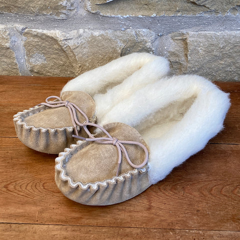 Womens Wool Lined Suede Moccasin Slippers with Wool Collar - Style 05