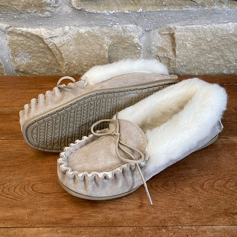 Womens Wool Lined Suede Moccasin Slippers with Wool Collar and Hard Sole - Style 06