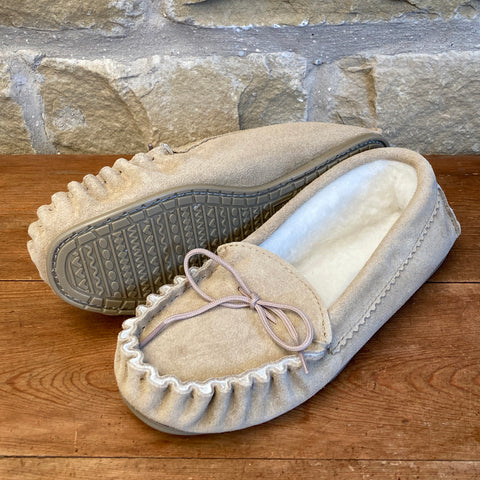 Womens Wool Lined Suede Moccasin Slippers with Hard Soles - Style 02