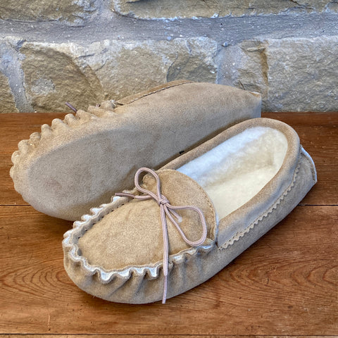 Womens Wool Lined Suede Moccasin Slippers - Style 01