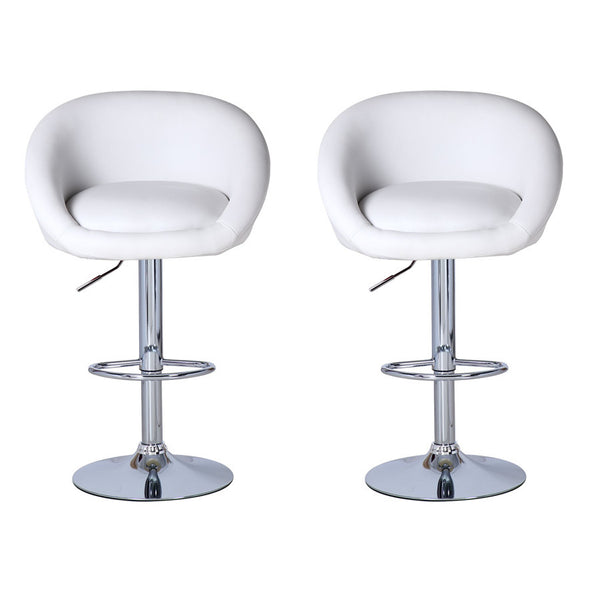 BS01 High Bar Stool (White) Set of 2