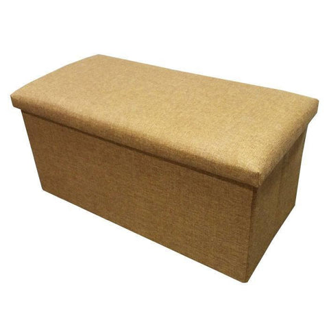C01 Canvas Foldable Storage Ottoman (Large) - Light Brown