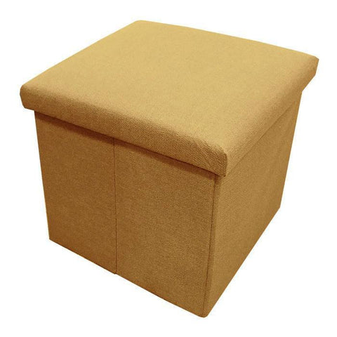 C01 Canvas Foldable Storage Ottoman (Small) - Light Brown