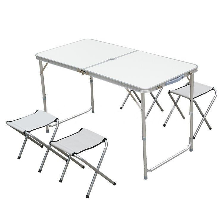 Portable Height Adjustable Aluminium Table With 4 Stools