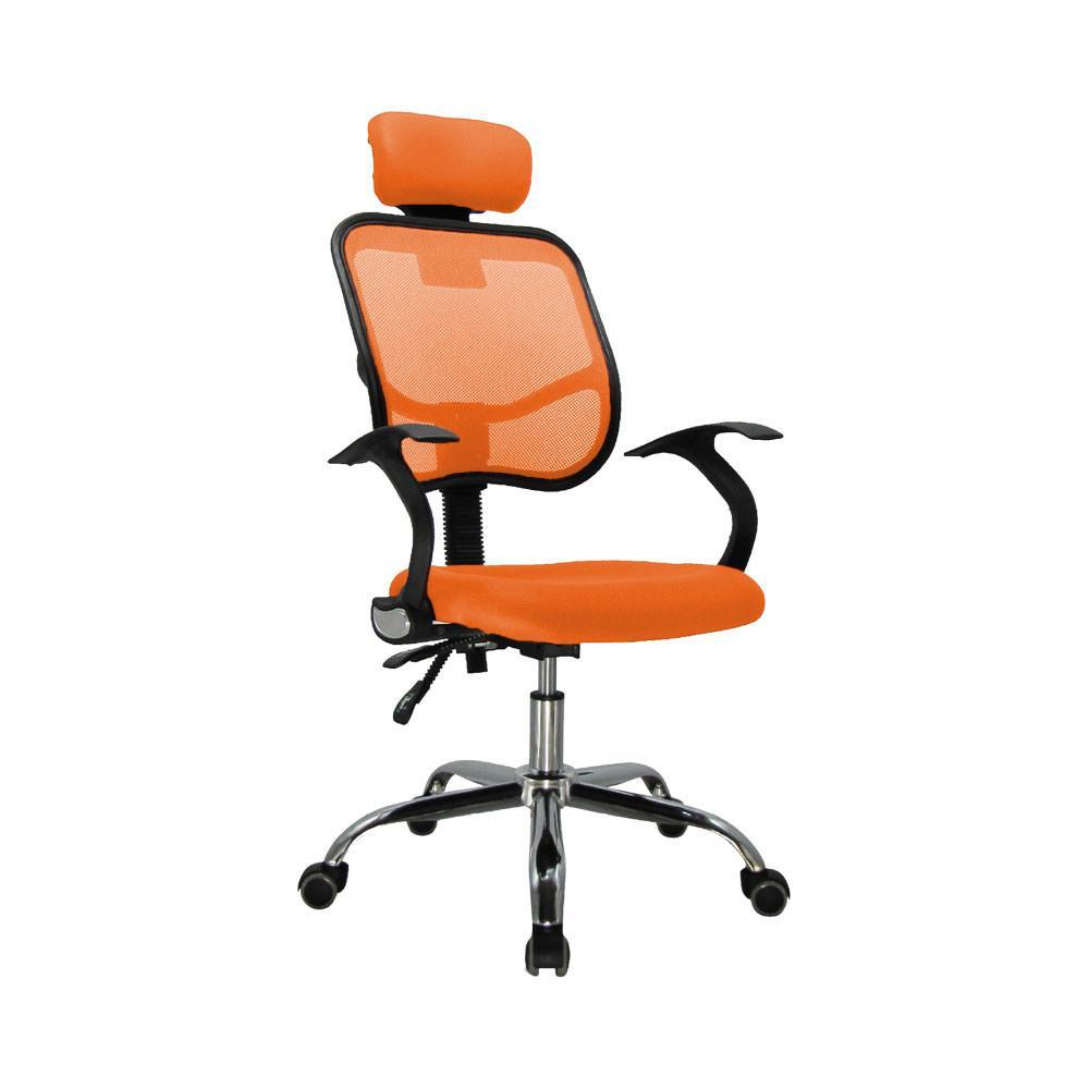 High Back Office Chair With Mesh And Head Rest Orange