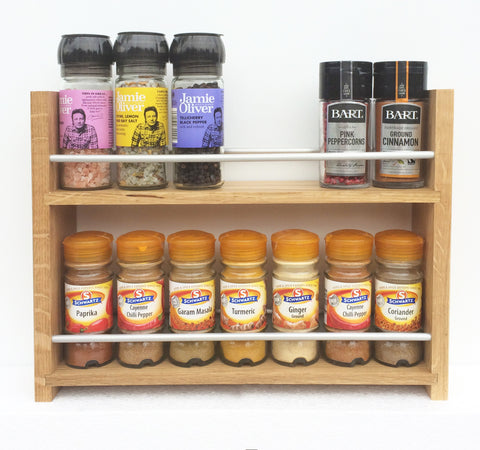 Solid Oak Spice Rack 2 Deep Shelves & Open Top for Larger Jars, Bottles and Packets - 25cm to 57cm Wide