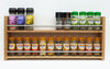 Solid Oak Spice Rack, 2 Tiers, Deep Capacity & Open Top for Larger Jars, Bottles and Packets - SilverAppleWood