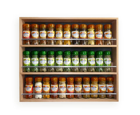 Solid Beech Spice Rack 3 Tiers / Shelves for Spices & Herb Jars