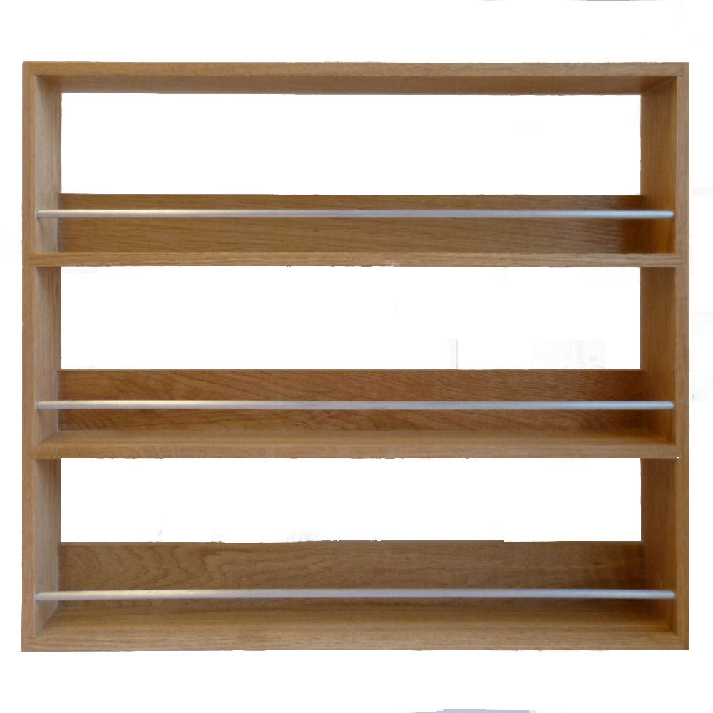 Solid Oak Spice Rack 3 Tiers / Shelves for Kitchen Herb & Spice Storage - SilverAppleWood