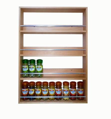 Solid Beech Spice Rack 4 Tiers / Shelves for Spices & Herb Jars