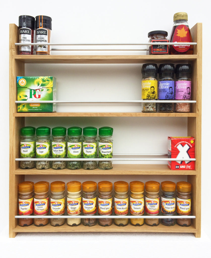Solid Oak Spice Rack, 4 Tiers, Deep Capacity & Open Top for for Larger Jars, Bottles and Packets - SilverAppleWood