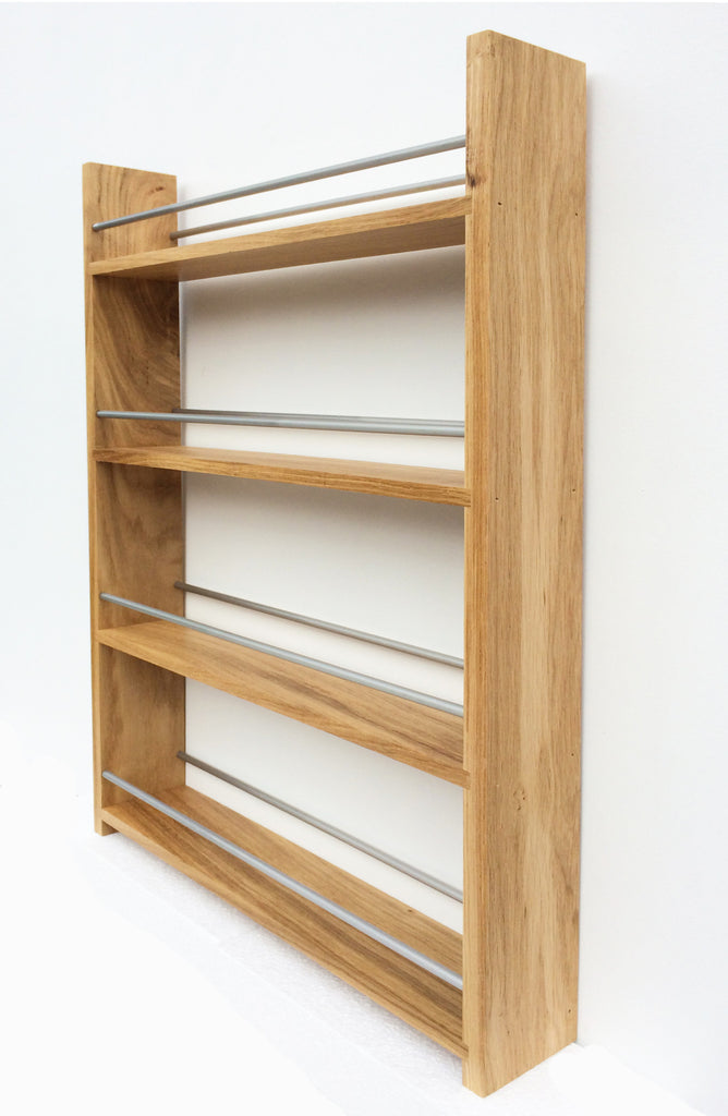 Contemporary Open Top Solid Oak Spice Racks 4 Deep Shelves