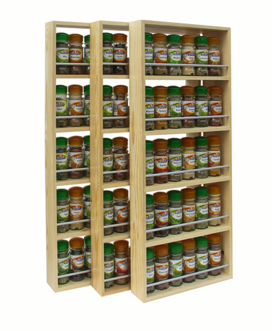 Contemporary Style Solid Pine Spice Rack 3 Tiers Shelves