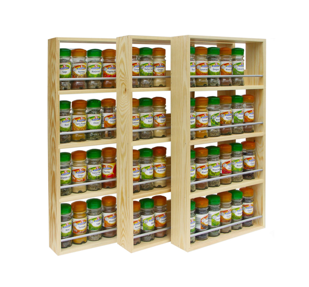 Solid Pine Spice Rack 4 Tiers / Shelves - SilverAppleWood