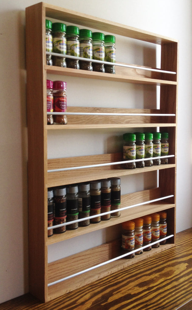Solid Oak Spice Rack 5 Tiers / Shelves for Herbs & Spices - SilverAppleWood
