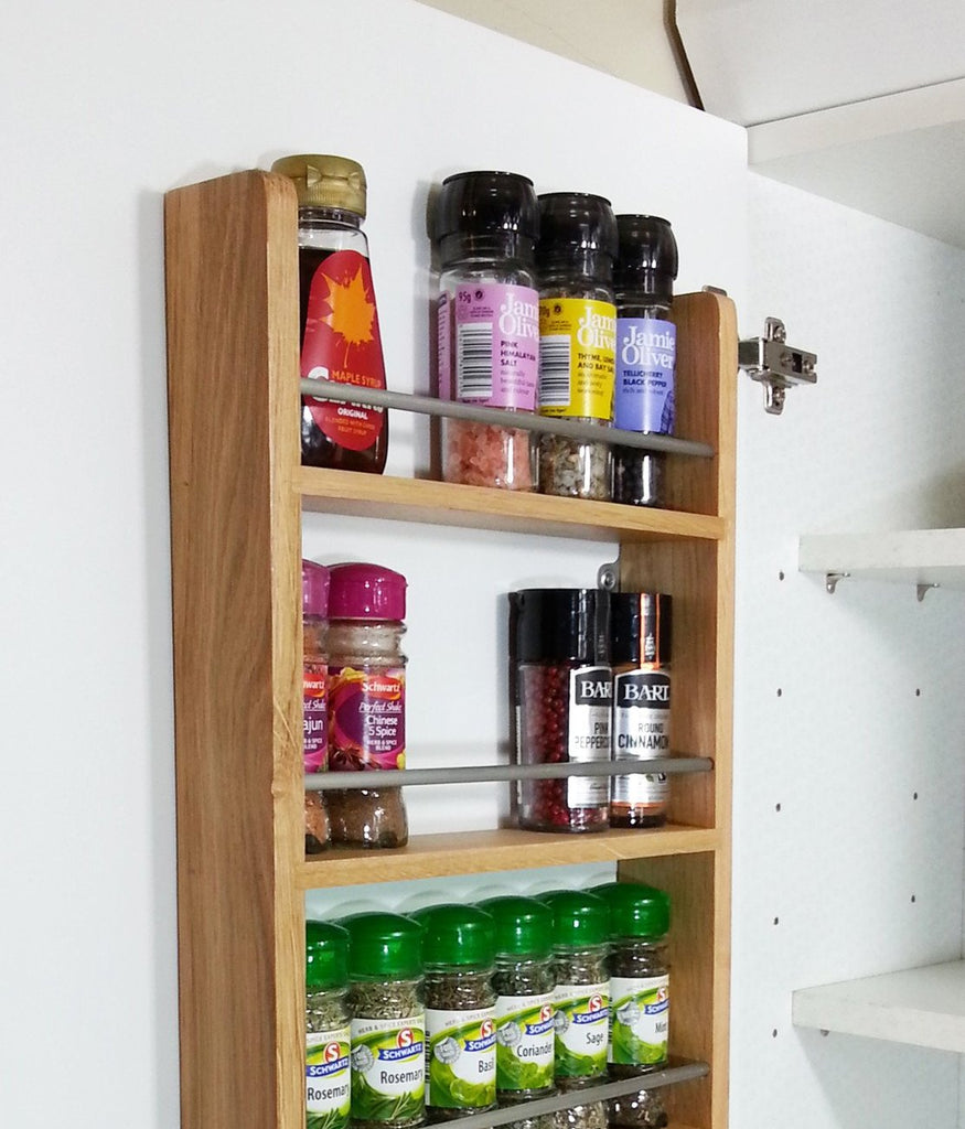 Solid Oak Spice Rack 3 Tiers Cupboard & Door Hung - SilverAppleWood