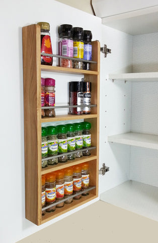 Solid Oak Spice Rack 4 Tiers Cupboard & Door Hung