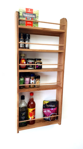 Solid Oak Larder Pantry Spice Rack for Spice Jars, Bottles and Packets - 5 Shelves