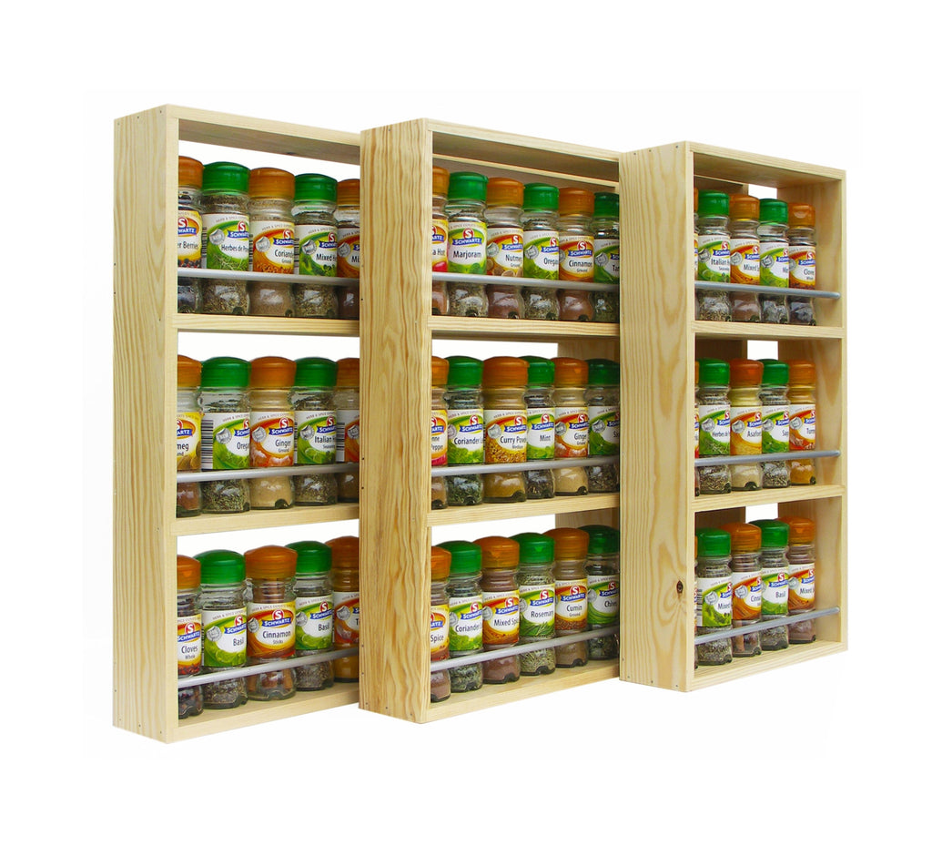 Solid Pine Spice Rack 3 Tiers / Shelves - SilverAppleWood