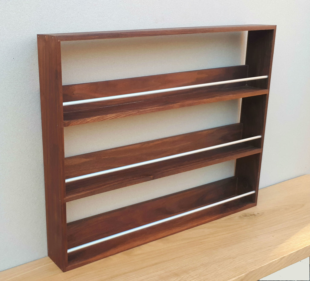 Solid Walnut Spice Rack 3 Tiers / Shelves for Herbs & Spice Storage - SilverAppleWood