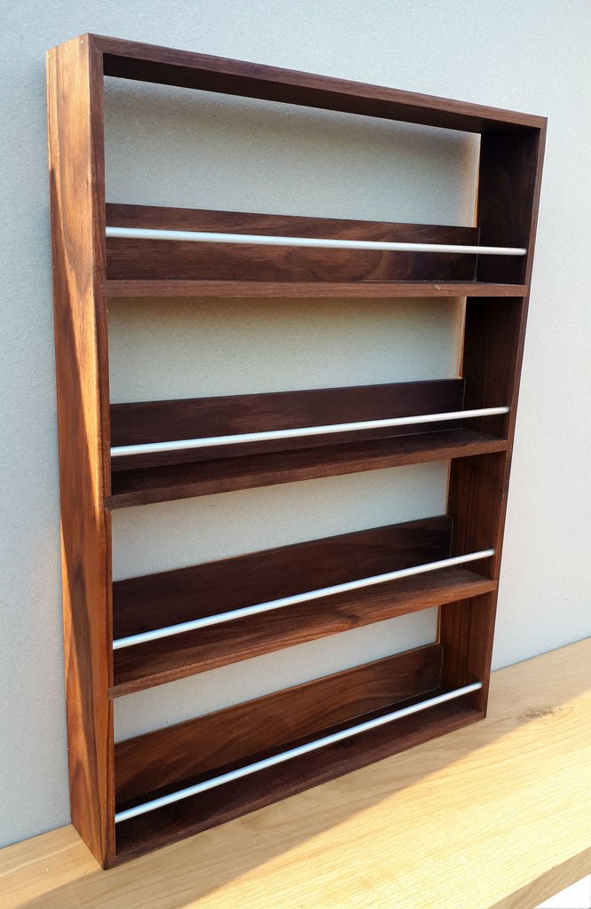 Solid Walnut Spice Rack 4 Tiers / Shelves for Herbs & Spice Storage - SilverAppleWood
