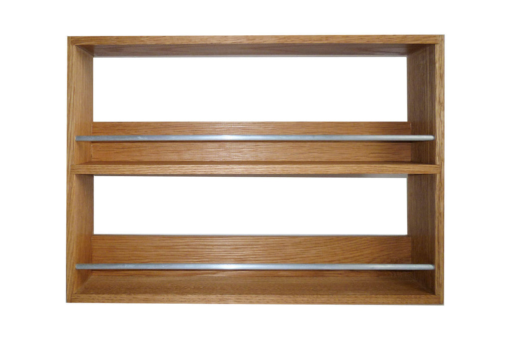 Solid Oak Spice Rack 2 Tiers / Shelves for Kitchen Herbs & Spice Storage - SilverAppleWood