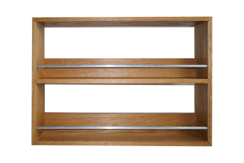 Solid Oak Spice Rack 2 Tiers / Shelves for Kitchen Herbs & Spice Storage