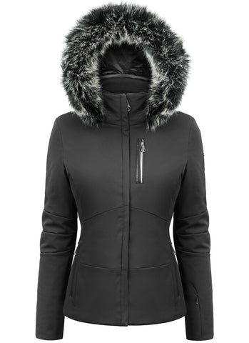 Poivre Blanc Black Ski Jacket W19-0802/A with Faux Fur