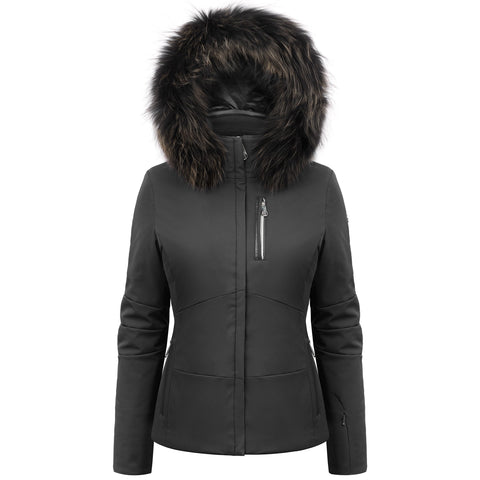 Poivre Blanc Black Ski Jacket W19-0802/B with Fur Trim