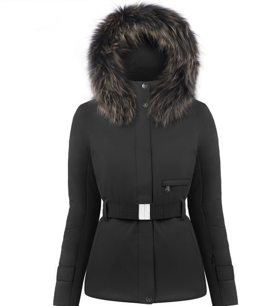 Poivre Blanc Belted Ski Jacket W19-0801-WO/B in Black with Fur Trim