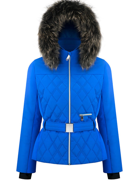 Poivre Blanc Quilted Blue Ski Jacket W19-1003-WO/B with Belt and Fur Trim
