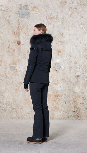 Poivre Blanc Black Stretch Ski Jacket 0804 with Fur Trim