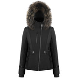 Poivre Blanc Stretch Ski Jacket 806 with Asymmetrical Zipper and Fur Hood