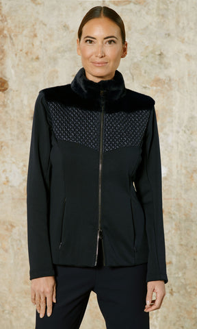 Poivre Blanc Hybrid Stretch Fleece Jacket in Black