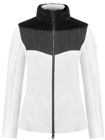 Poivre Blanc Hybrid Stretch Fleece Jacket in Black and White