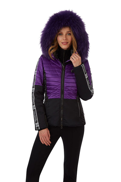 Sportalm Smash Ski Jacket 902113147 in Black and Violet with Violet Fur Trimmed Hood