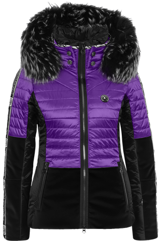 Sportalm Ski Jacket 902113147 in Black and Violet with Fur Trimmed Hood