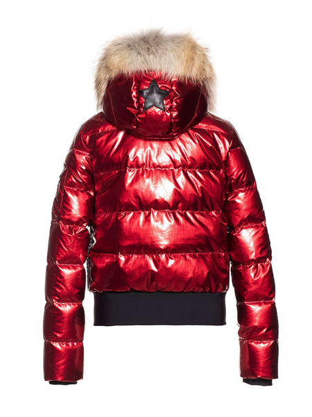 Goldbergh Aura Red Downfilled Ski Jacket with Fur Trim
