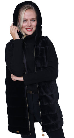 High Society Alana Faux Fur Gilet in Black