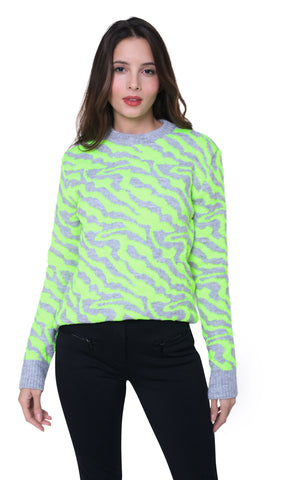 High Society Alina Jumper in Light Grey and Lime