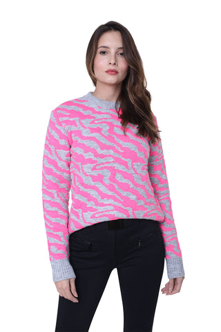 High Society Alina Jumper in Light Grey and Pink Zebra Stripes