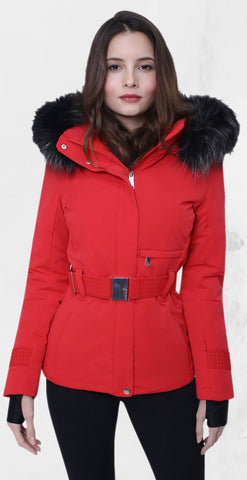 Poivre Blanc Belted Ski Jacket W19-0801-WO/B in Red with Fur Trim