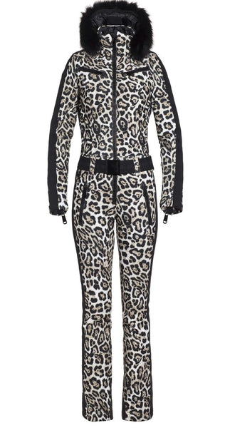 Goldbergh Cougar Jumpsuit in Leopard with Fur Trimmed Hood