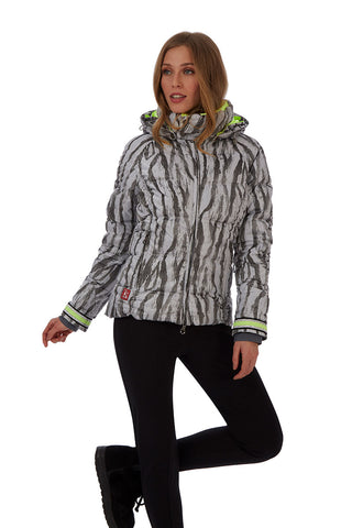 Kelly by Sissy Charly Ski Jacket in Animal Print grey with hood
