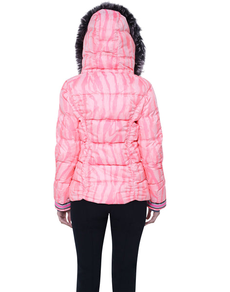 Kelly by Sissy Charly Ski Jacket in Animal Print Coral with Fur Trim