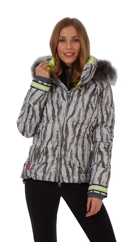 Kelly by Sissy Charly Ski Jacket in Animal Print grey with Fur Trim