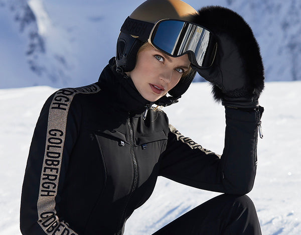 Goldbergh Goldfinger One Piece Black and Gold Ski Suit Longer Length